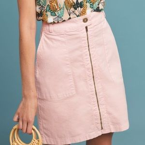 Anthropologie amadi pink zip front pencil skirt